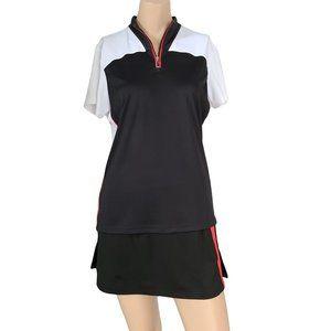 IZOD Black White & Red 1/4 Zip Golf Shirt L